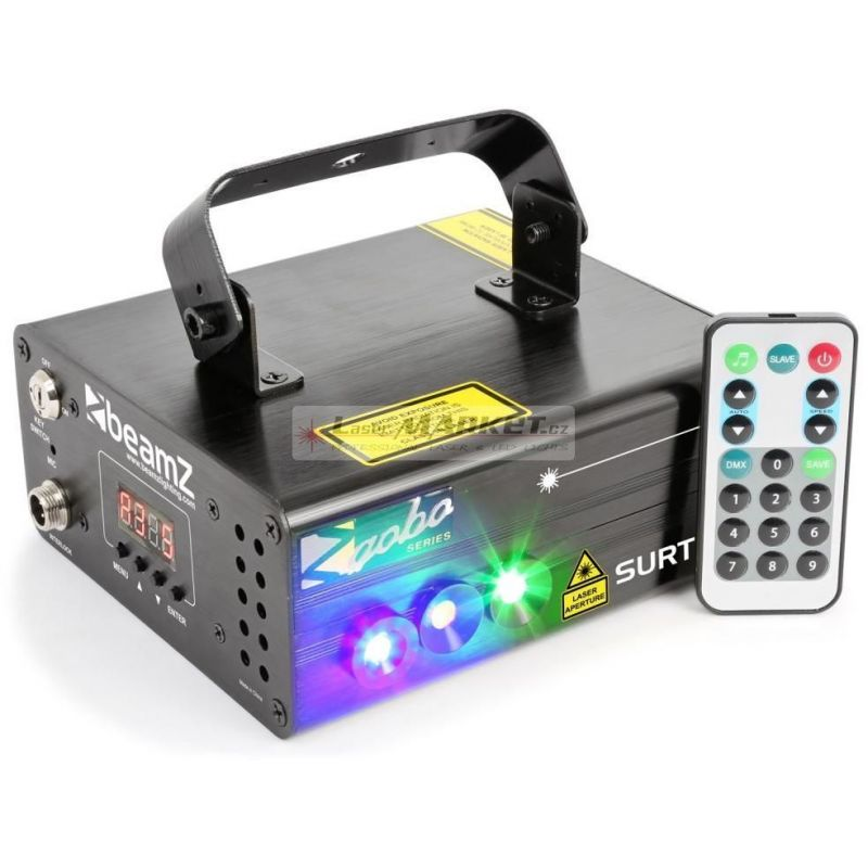 BeamZ Laser Surtur II Double RG Gobo 300mW, 1x 3W modrá LED, DMX, DO