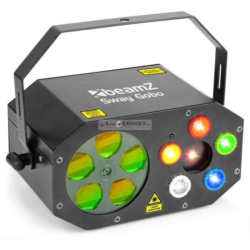 BeamZ LED Sway, Gobo paprskový efekt, 200mW RG laser, Strobo