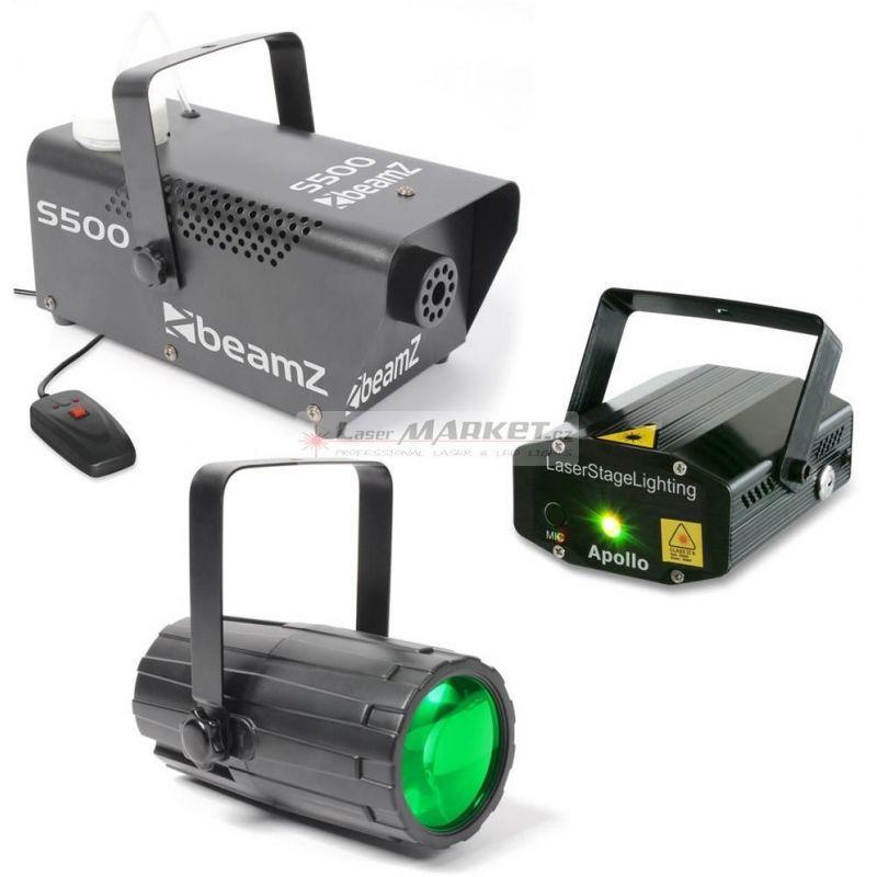 BeamZ světelný set 3, laser, LED paprskový efekt a výrobník mlhy