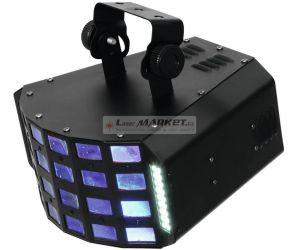Eurolite LED Derby 4x 3W RGBA a 36x 5050 SMD DMX, paprskový efekt - použito (51918300)